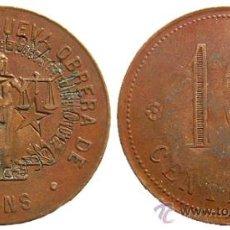 Monedas locales: *** ESCASA FICHA DE 10 CENTIMOS DE LA COOP. LA NUEVA OBRERA DE SANS. 1932 BARCELONA, RESELLADA ***. Lote 27227864