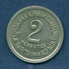 Monedas locales: ESPAÑA. MONEDA DE 2 PESETAS. COOPERATIVA DE CONSUM LA RÀPITA DELS ALFACS. UGT PSU. GUERRA CIVIL.. Lote 34614447