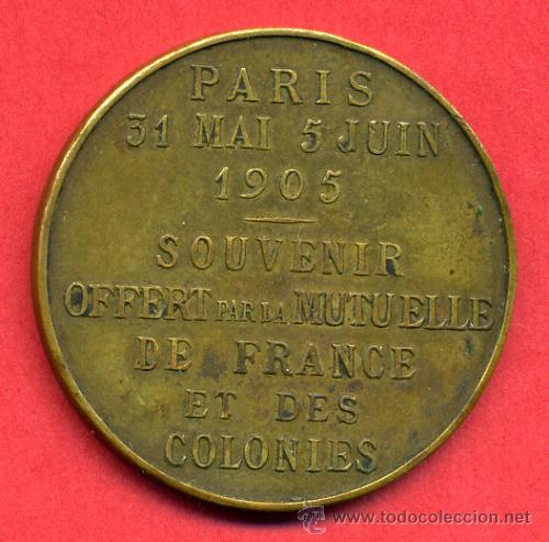 Monedas locales: FICHA O MEDALLA ALFONSO XIII Y LOUBET, PARIS 1905 , ORIGINAL, F707 - Foto 2 - 23965329