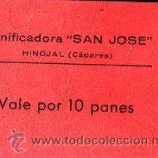 Monedas locales: VALE DE PAN DE PANIFICADORA SAN JOSE, HINOJAL, CACERES. VALE POR 10 PANES. Lote 26237144
