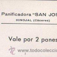 Monedas locales: VALE DE PAN DE PANIFICADORA SAN JOSE, HINOJAL, CACERES. VALE POR 2 PANES. Lote 26237176