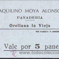 Monedas locales: VALE DE PAN DE PANADERIA AQUILINO MOYA ALONSO, ORELLANA LA VIEJA, BADAJOZ, VALE POR 5 PANES . Lote 26337306