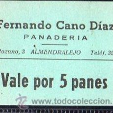 Monedas locales: VALE DE PAN DE PANADERIA FERNANDO CANO DIAZ, ALMENDRALEJO, BADAJOZ. VALE POR 5 PANES . Lote 26337325