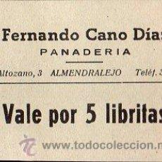 Monedas locales: VALE DE PAN DE PANADERIA FERNANDO CANO DIAZ (ALMENDRALEJO) BADAJOZ- VALE POR 5 LIBRITAS . Lote 26337347