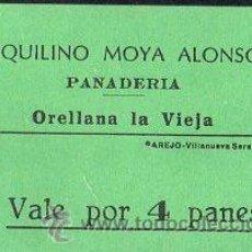 Monedas locales: VALE DE PAN DE PANADERIA AQUILINO MOYA ALONSO (ORELLANA LA VIEJA) BADAJOZ - VALE POR 4 PANES. Lote 26337353