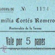 Monedas locales: VALE DE PAN DE PANADERIA EMILIA CORTES ROMERO (MONTERRUBIO DE LA SERENA) BADAJOZ - VALE POR 5 PANES. Lote 26337363
