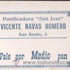 Monedas locales: VALE DE PAN DE PANADERIA VICENTE NAVAS ROMERO (CAMPILLOS) - VALE POR MEDIO PAN. Lote 26337551