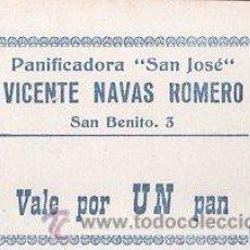 Monedas locales: VALE DE PAN DE PANADERIA VICENTE NAVAS ROMERO (CAMPILLOS) - VALE POR 1 PAN. Lote 26337559