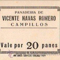 Monedas locales: VALE DE PAN DE PANADERIA VICENTE NAVAS ROMERO (CAMPILLOS) - VALE POR 20 PANES. Lote 26337570
