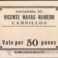 Monedas locales: VALE DE PAN DE PANADERIA VICENTE NAVAS ROMERO (CAMPILLOS) - VALE POR 50 PANES. Lote 26337575