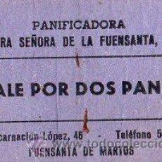 Monedas locales: VALE DE PAN DE PANADERIA NTRA. SEÑORA DE LA FUENSANTA S.L (FUENSANTA DE MARTOS) - VALE POR 2 PANES. Lote 26337702