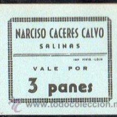 Monedas locales: VALE DE PAN DE PANADERIA NARCISO CACERES CALVO (SALINAS) - VALE POR 3 PANES. Lote 26337791
