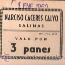Monedas locales: VALE DE PAN DE PANADERIA NARCISO CACERES CALVO (SALINAS) MALAGA - VALE POR 3 PANES. Lote 26337801
