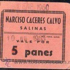 Monedas locales: VALE DE PAN DE PANADERIA NARCISO CACERES CALVO (SALINAS) MALAGA - VALE POR 5 PANES. Lote 26337804