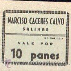 Monedas locales: VALE DE PAN DE PANADERIA NARCISO CACERES CALVO (SALINAS) MALAGA - VALE POR 10 PANES. Lote 26337805