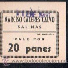 Monedas locales: VALE DE PAN DE PANADERIA NARCISO CACERES CALVO (SALINAS) MALAGA. VALE POR 20 PANES. Lote 26337813