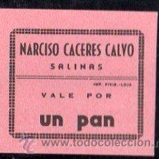 Monedas locales: VALE DE PAN DE PANADERIA NARCISO CACERES CALVO (SALINAS) MALAGA - VALE POR 1 PAN. Lote 26337825