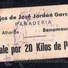 Monedas locales: VALE DE PAN DE PANADERIA HIJOS DE JOSE JORDAN GARCIA (BENAMAUREL) - VALE POR 20KG PAN. Lote 26337927