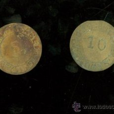 Monedas locales: ISLA CRISTINA. MARTIN CABET. 1910. 5 Y 10 CENTIMOS. COMPLETA.. Lote 26343729