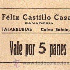 Monedas locales: VALE DE PAN DE FELIX CASTILLO CASAU, TALARRUBIAS (BADAJOZ) - VALE POR 5 PANES. Lote 26999152