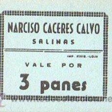 Monedas locales - VALE DE PAN DE NARCISO CACERES CALVO, SALINAS, MALAGA - VALE POR 3 PANES - 27037851