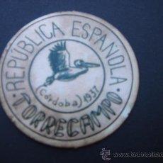Monedas locales: CARTÓN MONEDA LOCAL DE TORRECAMPO(CÓRDOBA) -TIMBRE MÓVIL-, CON SELLO 20 CTS II REPÚB. MBC+. 1937. Lote 28134833