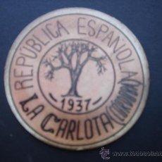 Monedas locales: CARTÓN MONEDA LOCAL DE LA CARLOTA (CÓRDOBA) -TIMBRE MÓVIL-, CON SELLO 20 CTS II REPÚB. MBC+. 1937.. Lote 28138544