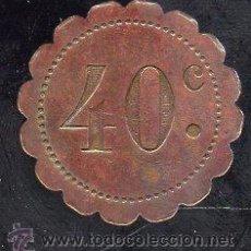 Monedas locales: FICHA DE 40 CENTIMOS A IDENTIFICAR. Lote 28490652