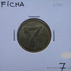 Monedas locales: FICHA CON UN NÚMERO SIETE, 7 POR AMBOS LADOS, DIÁMETRO APROXIMADO 21-22 MM.. Lote 28570915