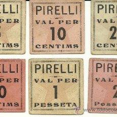 Monedas locales: (FC-200)VALES 5,10,25,50 CTS. Y 1,2 PTS.COMITE FABRICAS C.N.T.-U.G.T.PIRELLI(VILANOVA I GELTRU)-G.C. Lote 28634318