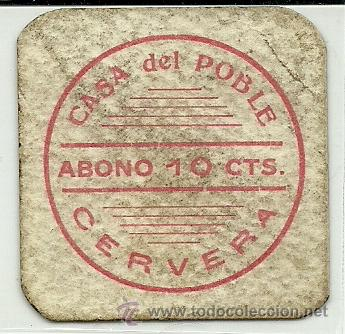 (FC-137)VALE 10 CTS.CASA DEL POBLE DE CERVERA(LLEIDA)-GUERRA CIVIL (Numismática - España Modernas y Contemporáneas - Locales y Fichas Dinerarias y Comerciales)
