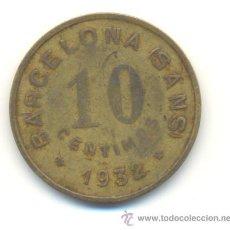 Monedas locales: FICHA DE LA NUEVA ACTIVIDAD OBRERA. BARCELONA SANS. 1932. 10 CÉNTIMOS. Lote 29896925