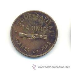 Monedas locales: RARA FICHA COOPERATIVA LA UNIO CANET DE MAR--5 CÉNTIMOS. Lote 29898695