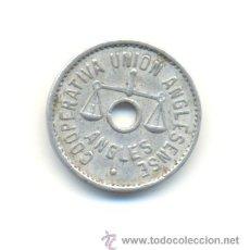 Monedas locales: FICHA COOPERATIVA UNIÓN ANGLESENSE, ANGLÉS. 1 PESETA. Lote 29898718
