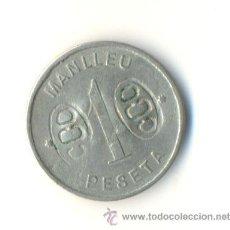 Moedas locais: 1 PESETA. S/F. COOPERATIVA POPULAR OBRERA. MANLLEU VARIOS RESELLOS. Lote 29900962