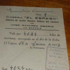 Monedas locales: VALE DE ACEITUNA. CASERIA EL ESPESO, FABRICA DE ACEITE. LA GUARDIA, JAEN. . Lote 30938095