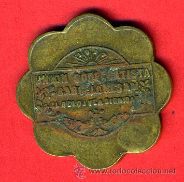 Monedas locales: FICHA , VALE POR 5 PANES, UNION COOPERATIVISTA BARCELONESA, ANTIGUA , ORIGINAL, F52 - Foto 2 - 67520619
