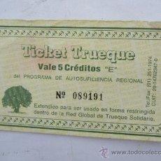 Monedas locales: TICKET TRUEQUE - VALE 5 CREDITOS RED GLOBAL DEL TRUEQUE - DEPRESION ARGENTINA CORRALITO 1974. Lote 31741002