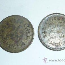 Monedas locales: PAREJA DE MONEDA FICHA ANTIGUAS DE BAR AUTOMATIC 25 CTS BARCELONA. GUERRA CIVIL ?. Lote 32351249