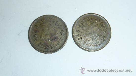 Monedas locales: Pareja de moneda ficha antiguas de Bar automatic 25 cts Barcelona. Guerra civil ? - Foto 2 - 32351249