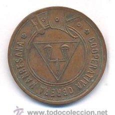 Monedas locales: RAR FICHA MANRESANA COOPERATIVA OBRERA 1 PESETA. Lote 32427040