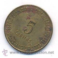 Monedas locales: MUY RARA FICHA SECCIÓ COOPERATIVA CIRCOL TRADICIONALISTA-VILLANOVA GELTRU. Lote 32427551
