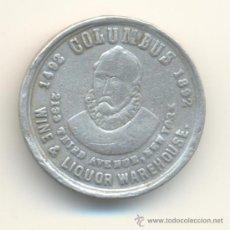 Monedas locales: ANTIGUA Y BONITA FICHA CRISTOBAL COLÓN 1492-1892 ESTADOS UNIDOS USA. ALUMINIO. 21 MM.. Lote 32817590
