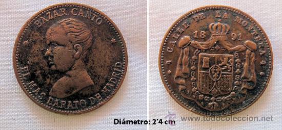 FICHA 1891 BAZAR CANTO MADRID (Numismática - España Modernas y Contemporáneas - Locales y Fichas Dinerarias y Comerciales)