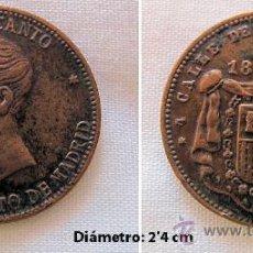 Monedas locales: FICHA 1891 BAZAR CANTO MADRID. Lote 33109263
