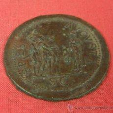 Monedas locales: FICHA TOKEN DE JUEGO DE ESTAÑO SPSES AUGUSTA SC REVERSO DE SESTERCIO O DUPONDIO ROMANO S XVIII. Lote 33417617