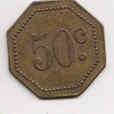 Monedas locales: FICHA TOKEN COOPERATIVA 50 CENTIMOS 1900-1920. Lote 37627496