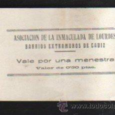 Monedas locales: VALE POR UNA MENESTRA. ASOCIACION DE LA INMACULADA DE LOURDES, CADIZ. Lote 34303378