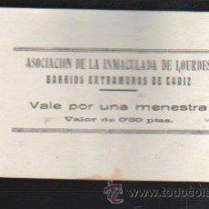 Monedas locales: VALE POR UNA MENESTRA. ASOCIACION DE LA INMACULADA DE LOURDES, CADIZ. Lote 34303388
