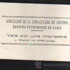 Monedas locales: VALE POR UNA MENESTRA. ASOCIACION DE LA INMACULADA DE LOURDES, CADIZ. Lote 34303654